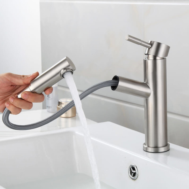 brushed stainless steel faucet kitchen